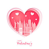Valentine's card. Paper cut heart and city of New York. Happy Valentine day. Vector illustration.