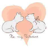 Funny lovers cats, vector illustration