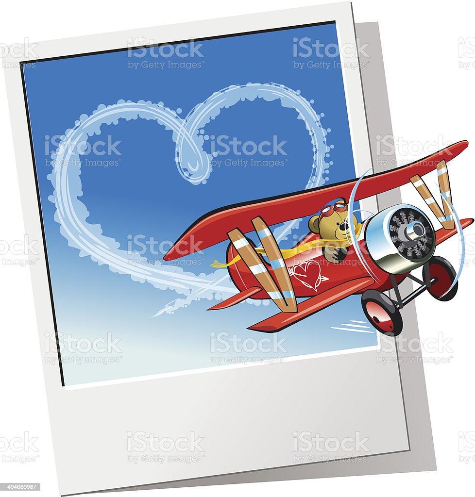 Valentinstagkarte Mit Einem Cartoon Flugzeug Stock Vektor Art und ...