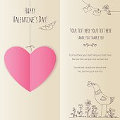 Valentine's card with pink paper heart and hand drawing bird, beige
