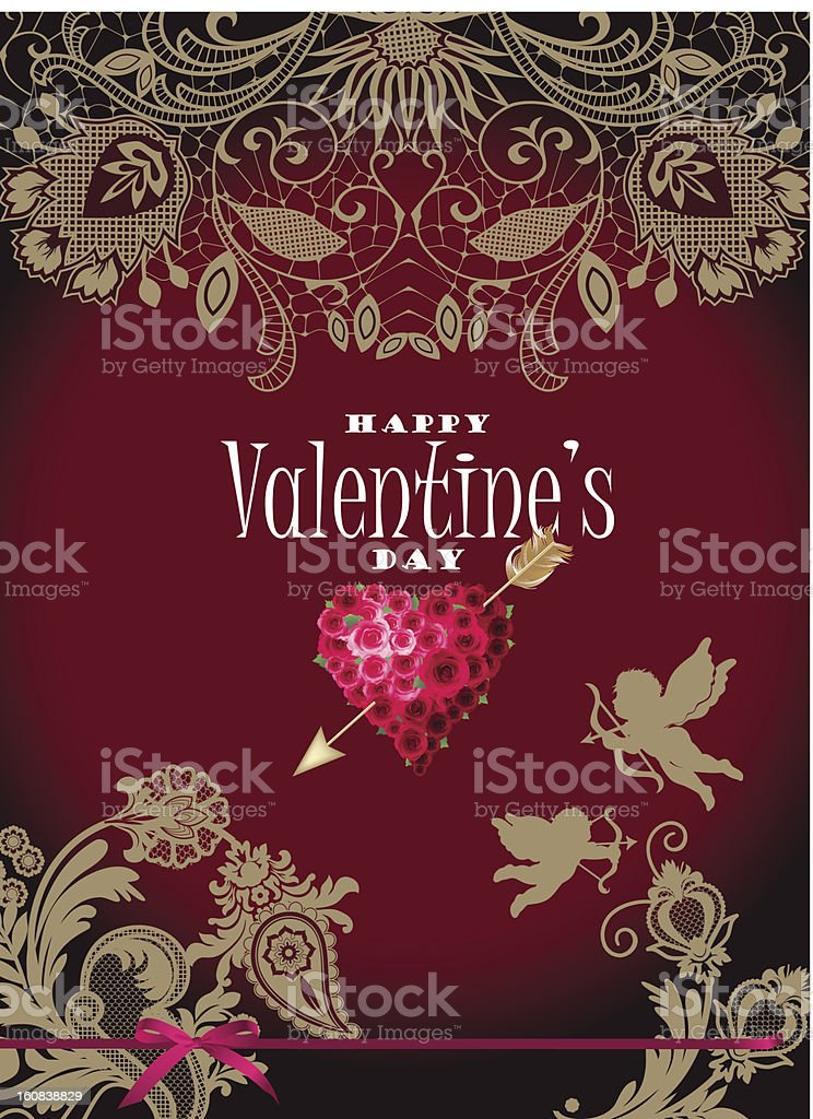 Valentine's card with lace royalty-free valentines card with lace stock vector art & more images of angel
