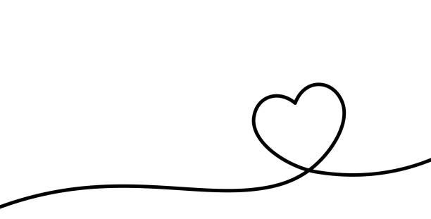 Valentinstag-Karte mit Linie Kunst Zeichnung von einfachen Herzschild. – Vektorgrafik