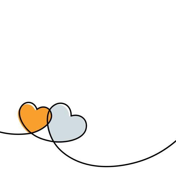 Valentinstag-Karte mit Linie Kunst Zeichnung von zwei einfachen Herzen Zeichen. – Vektorgrafik