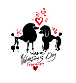 Valentine's card with pair of loving poodles. Funny loving doggies.