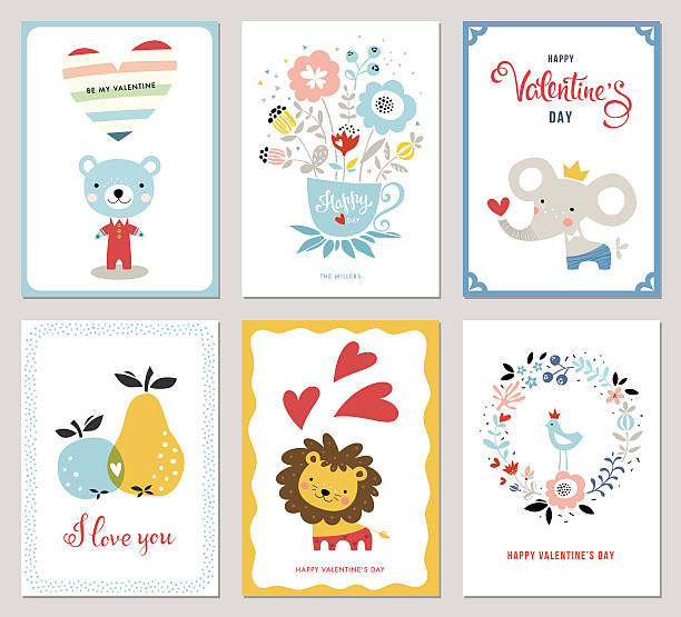 Valentines Cards Valentine's Cards design collection. Bouquet, floral wreath, apple, pear, bird, hearts, Teddy Bear, elephant and little lion. Vector illustration. animal valentine stock illustrations
