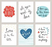 Valentine's greeting cards with trending typographic design. Vector illustration.
