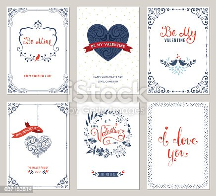 Ornate Valentine's greeting cards with typographic design, swirls, heart shape, birds and floral wreath. Vector illustration.