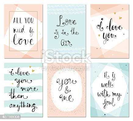 Valentine's minimalistic cards with typographic design. Geometric greeting cards in trending pink, blue, gold and black colors. Vector illustration.