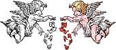 istock Valentines Cherubs Dropping Flowers 165601781