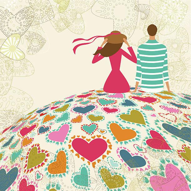 Valentine's couple on the mountain of love vector art illustration