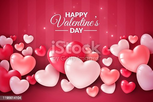 istock Valentines day 3d hearts. Cute love banner, romantic greeting card happy valentines day wishes text, red heart balloons vector concept 1195614104