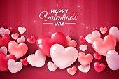 バレンタインデー3Dハート。かわいい愛のバナー、ロマンチックなグリーティングカードハッピーバレンタインデーは、テキスト、赤いハート風船ベクトルコンセプトを願っています