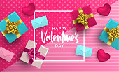 Happy Valentines Day illustration. Realistic 3d element layout in pink colors: gift box, heart shape and card envelope from top view angle.