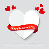 Valentines day abstract background with cut paper heart and curl red ribbon. Realistic vector illustration