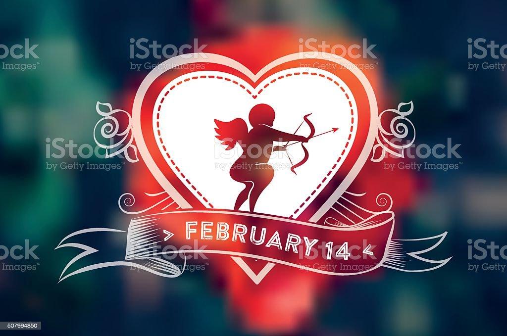 Line Art Valentine : Valentines day amor line art symbol on blurred background stock