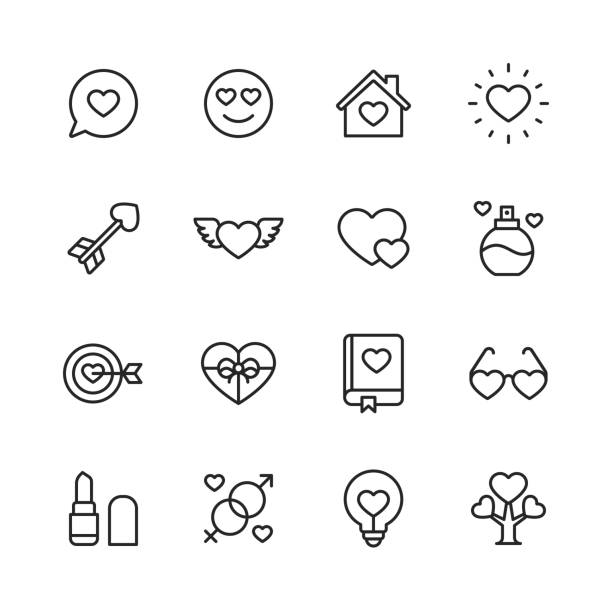 Valentine's Day and Love Icons. Editable Stroke. Pixel Perfect. For Mobile and Web. Contains such icons as Heart, Love, Perfume, Lipstick, Gift, Family. 16 Valentine's Day and Love Outline Icons. romance stock illustrations