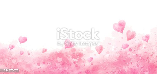 istock Valentine's day and wedding background design of watercolor hearts vector illustration 1294275073