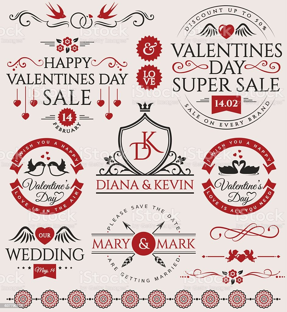 valentines day and wedding design elements お祝いのベクターアート