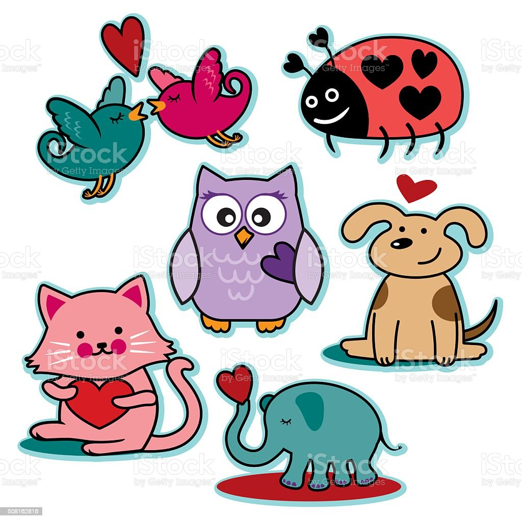 Valentines day animal characters vector art illustration