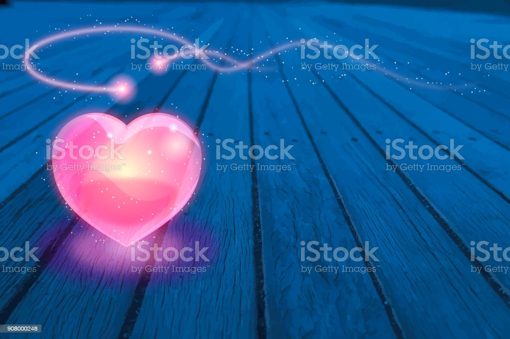Valentine's Day background [Glass Heart and two spirits on the wood deck] vector art illustration