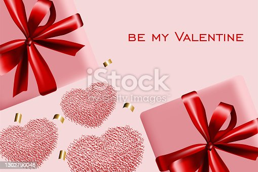 Valentine's Day background. Valentine's postcard. Heart made of confetti, realistic 3d gift wrapping with satin ribbon and bow. Web banner, poster, flyer, brochure, postcard, cover, background.
