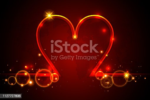 Valentine's Day background with shining glitter red heart symbol and stars. (Used clipping mask)