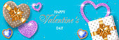 Valentines Day background with heart-shaped gift boxes and stylized hearts made of confetti. Greeting card, party invitation or sale banner template