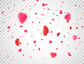 Valentines Day background with 3d pink heart falling on transparent background. Heart confetti border. Flower petal in shape of heart. Color confetti for greeting cards. Vector illustration.