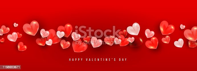 istock Valentines day background with 3D volumetric balloon hearts of different sizes and patterns on a red background with place for text. 1198653671