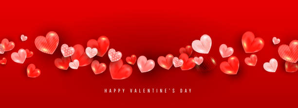 valentines day background with 3d volumetric balloon hearts of different sizes and patterns on a red background with place for text. - valentines day stock illustrations