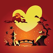 Valentines Day Background with Abstract Chines Background