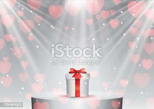 Valentines Day background with gift on a podium under spotlights