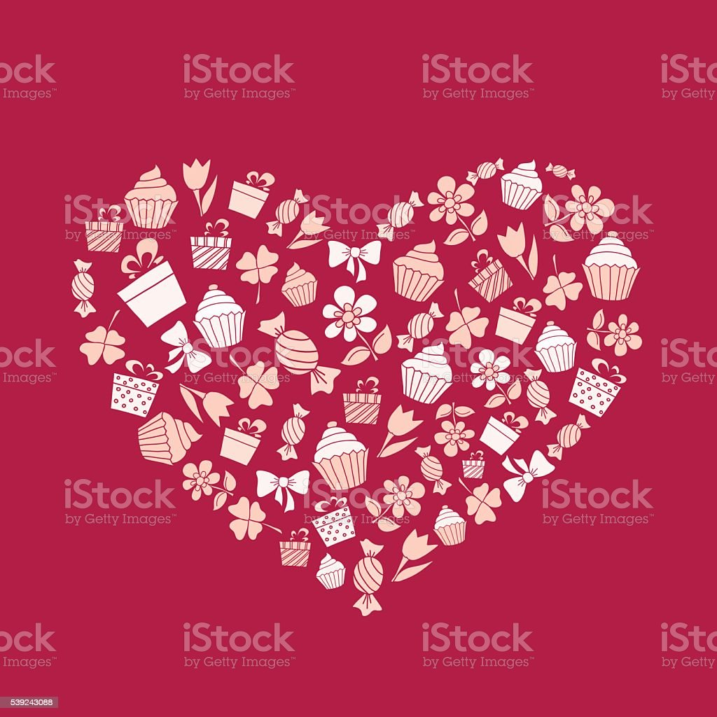 Valentine's Day background with hand drawn holiday items royalty-free valentines day background with hand drawn holiday items stock vector art & more images of abstract