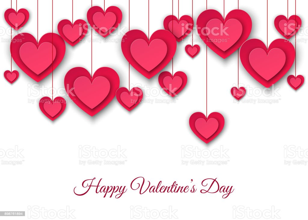 Valentines day  background with hanging  pink paper hearts. vector art illustration