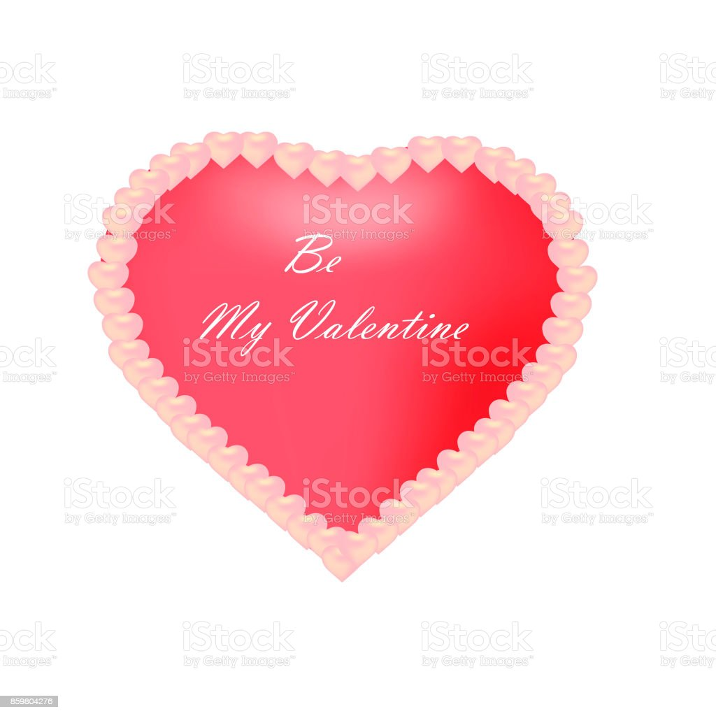 Valentine's day background with heart and circles. Vector illustration with text Happy Valentine's day. vector art illustration