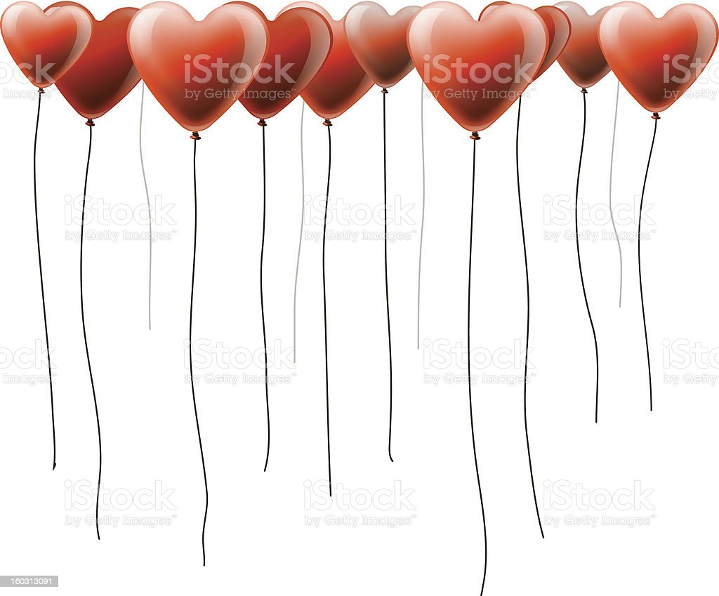 Valentines day background with heart balloons royalty-free stock vector art