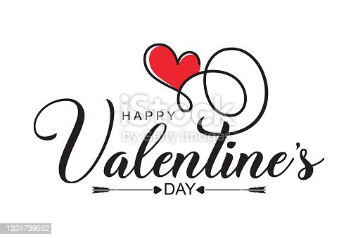 Valentines day background with heart pattern and typography of happy valentines day text . Vector illustration.   Design template celebration.