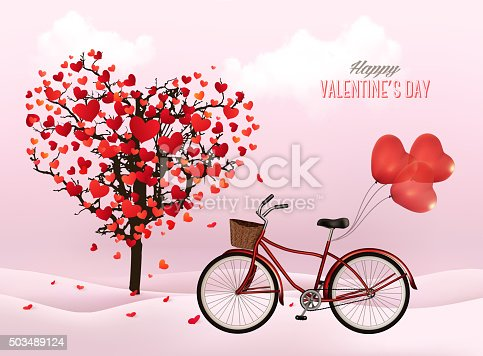 Valentine's Day background with a heart shaped tree and a bicycle with heart shaped balloons. Vector.