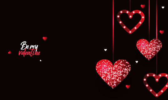 Valentines day background with hearts and glowing red glitter heart