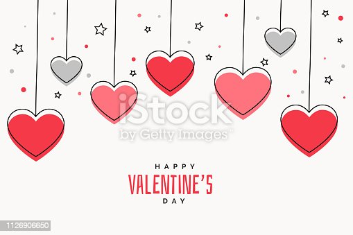 valentines day background with hearts and stars