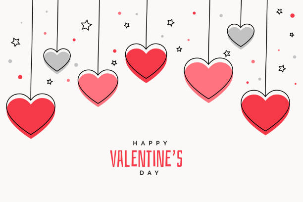 valentines day background with hearts and stars - valentines day stock illustrations