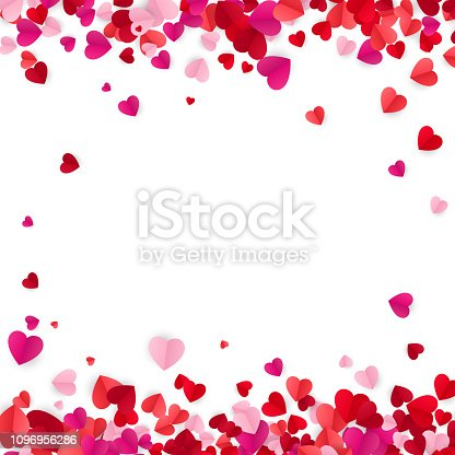 istock Valentine's day background with hearts. Holiday decoration elements colorful red hearts. Vector illustration isolated on white background 1096956286
