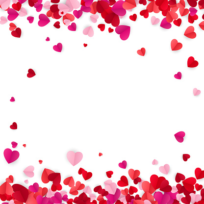 Valentine's day background with hearts. Holiday decoration elements colorful red hearts. Vector illustration isolated on white background