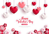 Happy saint valentine's day background with decoration hearts and paper cut rose flowers. Vector illustration.