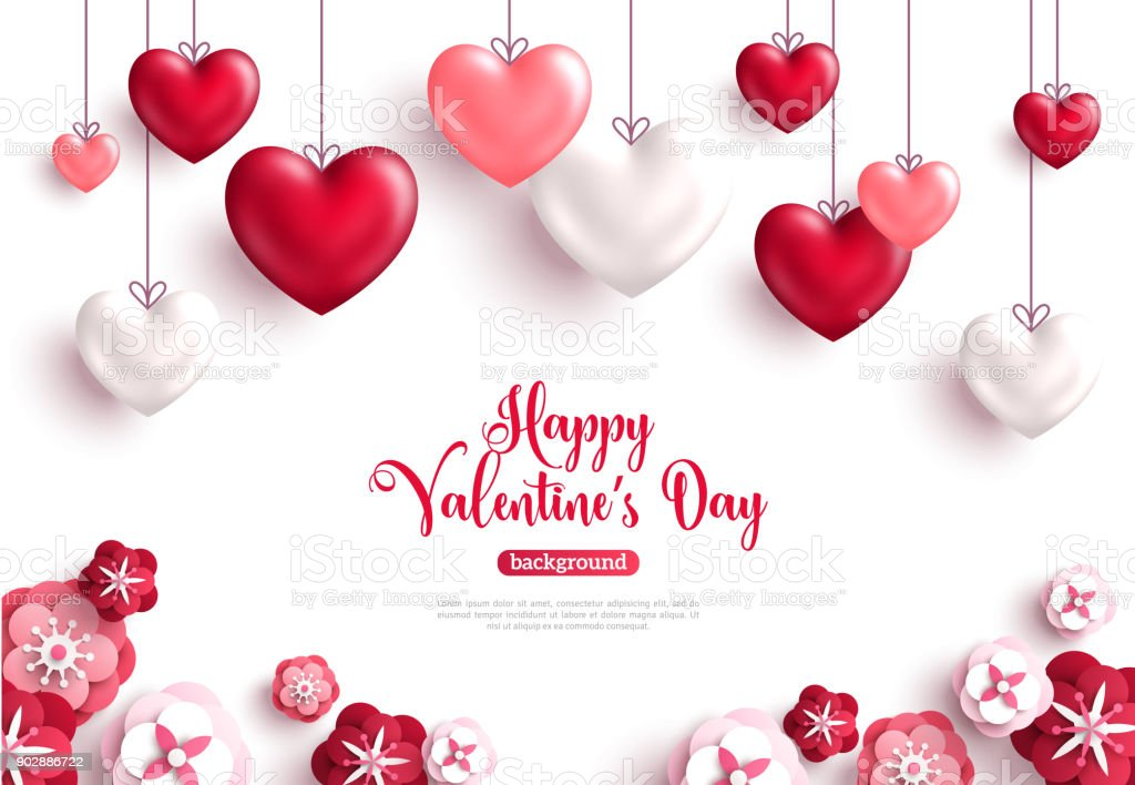 Valentine's day background with paper cut flowers vector art illustration