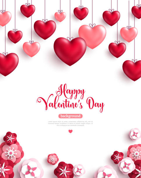 valentine's day background with paper cut flowers - valentine card stock illustrations