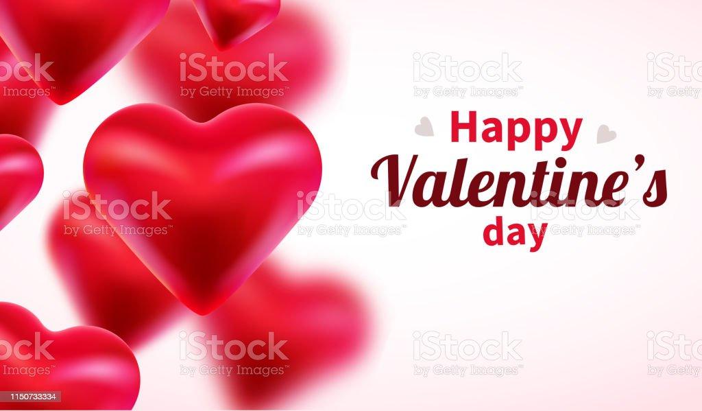 Fond De Jour De Valentines Avec Des Coeurs 3d Rouges Mignon