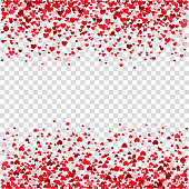 Valentines day background with  red flying heart confetti.  Design element for romantic love greeting card, Women's Day postcard, wedding invitation. Vector  texture.