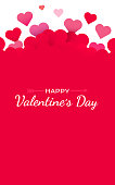 Valentines Day background with red hearts. Cute love banner or greeting card. Place for text. Happy valentines day. Vector illustration.