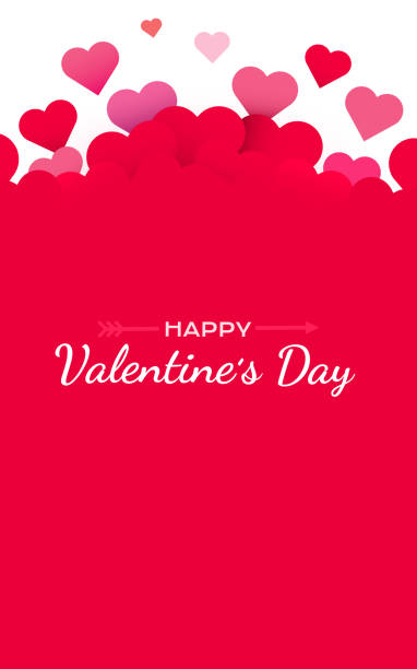 день святого валентина фон с красными сердцами. симпатичные любовные баннеры или поздравительные открытки. место для текста. с днем валент� - valentines day stock illustrations